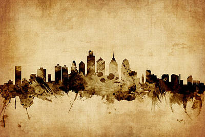 Philadelphia Pennsylvania Skyline Art Print by Michael Tompsett