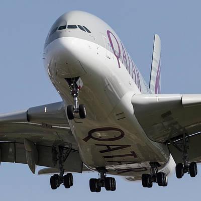 Photograph - Qatar Airlines Airbus A380 by David Pyatt