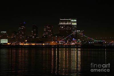 Photograph - San Diego Skyline Night by Henrik Lehnerer