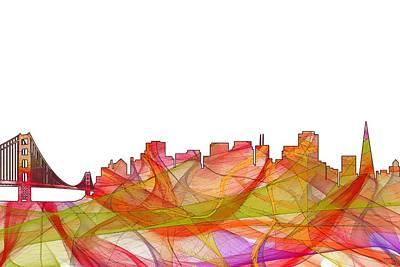 Digital Art - San Francisco California Skyline by Marlene Watson
