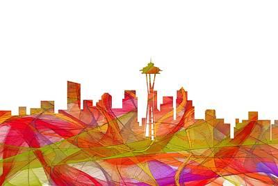 Digital Art - Seattle Washington Skyline by Marlene Watson