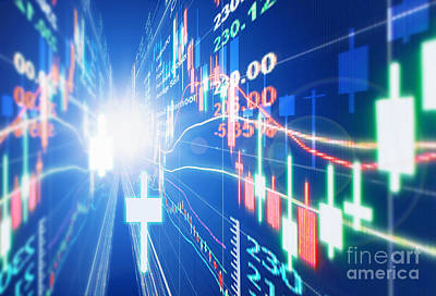 Display Digital Art - Stock Market Concept by Setsiri Silapasuwanchai