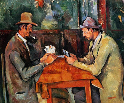 Interior Still Life Painting - The Card Players by Paul Cezanne