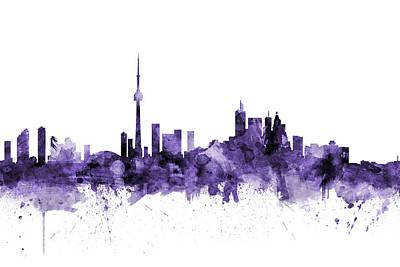 Digital Art - Toronto Canada Skyline by Michael Tompsett
