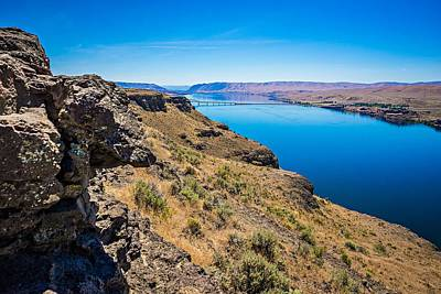 Photograph - Wanapum Lake Colombia River Wild Horses Monument And Canyons by Alex Grichenko