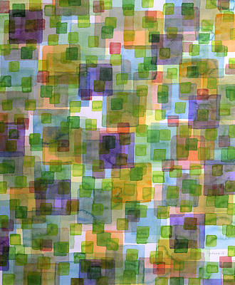 Large Squares Covered By Small Green Squares  Art Print by Heidi Capitaine