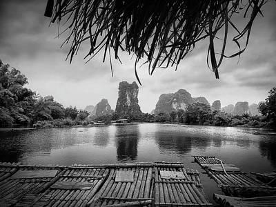 Audrey Hepburn - Yulong River drifting -ArtToPan- China Guilin scenery-Black and white photograph by Artto Pan