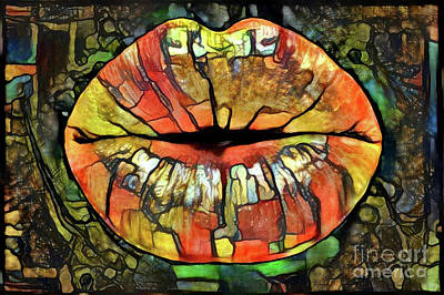 Pop Art Digital Art - Kissing Lips by Amy Cicconi