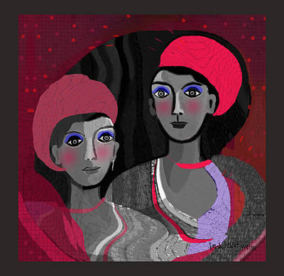 Digital Art - 1405 - Pretty Ladies Dressed  In Red And Grey 2017 by Irmgard Schoendorf Welch