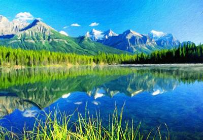 Lake Painting - Nature Oil Painting Landscape by Margaret J Rocha