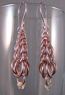 Jewelry - 1413 Pink Pagoda Earrings by Dianne Brooks