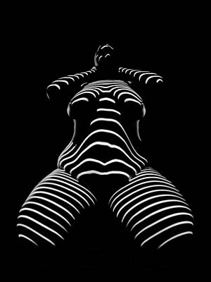 Photograph - 1422-tnd Zebra Woman Big Girl Striped Woman Black And White Abstract Photo By Chris Maher by Chris Maher