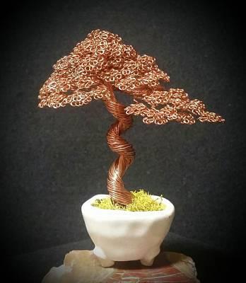 #143 Bright Copper Wire Tree Sculpture Original by Ricks Tree Art