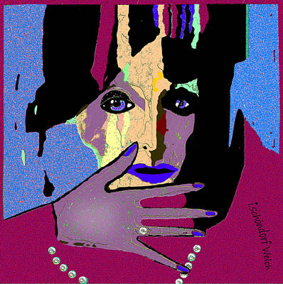 Digital Art - 1434- Lady With Blue Lips And Blue Fingernails 2017 by Irmgard Schoendorf Welch