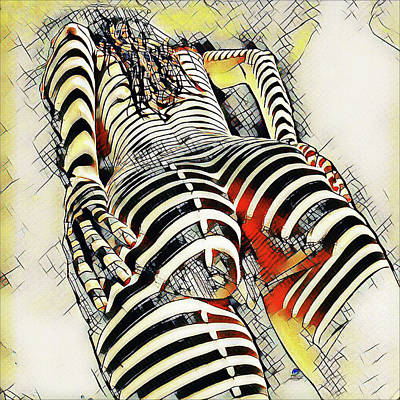 Digital Art - 1457s-ak Rear View Nude Erotica In The Style Of Kandinsky by Chris Maher