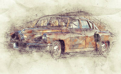 Transportation Mixed Media - 148 Tucker Torpedo - Tucker Sedan - Tucker 48 - 1948 - Automotive Art - Car Posters by Studio Grafiikka