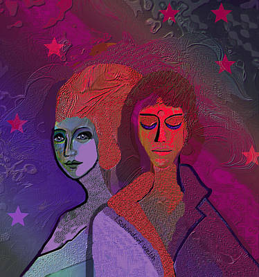 Digital Art - 1486 - Difficult Friendship 2017 by Irmgard Schoendorf Welch