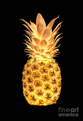 Digital Art - 14g Artistic Glowing Pineapple Digital Art Gold by Ricardos Creations