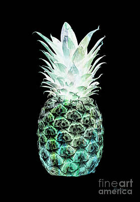 Photograph - 14h Artistic Glowing Pineapple Digital Art Green And Blue by Ricardos Creations