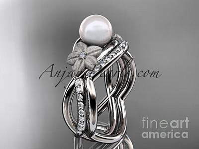 Leaf And Vine Engagement Ring Jewelry - 14k White Gold Diamond Pearl Vine And Leaf Engagement Set Ap90s by AnjaysDesigns com