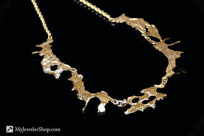 Nugget Necklace Jewelry - 14kt Gold Freeform Necklace by Nicholas Damario