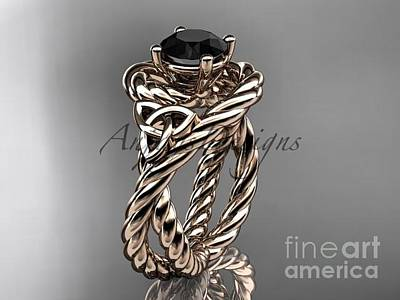 Jewelry - 14kt Rose Gold Celtic Trinity Twisted Rope Wedding Ring With A Black Diamond Center Stone Rpct9320 by AnjaysDesigns com