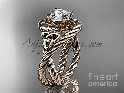 Jewelry - 14kt Rose Gold Celtic Trinity Twisted Rope Wedding Ring With A Moissanite Center Stone Rpct9320 by AnjaysDesigns com