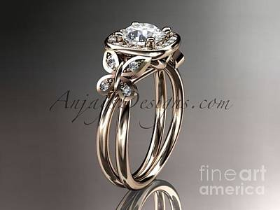 Leaf And Vine Engagement Ring Jewelry - 14kt Rose Gold Diamond Engagement Ring Adlr330 by AnjaysDesigns com