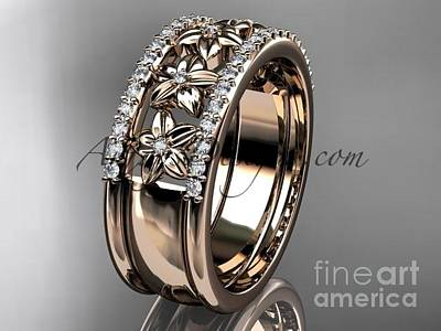 Jewelry - 14kt Rose Gold Engagement Ring, Flower Wedding Band Adlr516b by AnjaysDesigns com