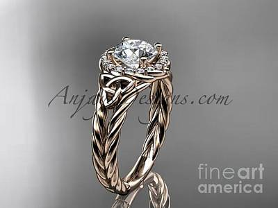 Jewelry - 14kt Rose Gold Halo Rope Celtic Triquetra Engagement Ring Rpct9131 by AnjaysDesigns com