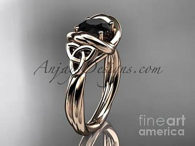 Jewelry - 14kt Rose Gold Trinity Celtic Twisted Rope Wedding Ring With A Black Diamond Center Stone Rpct9146 by AnjaysDesigns com