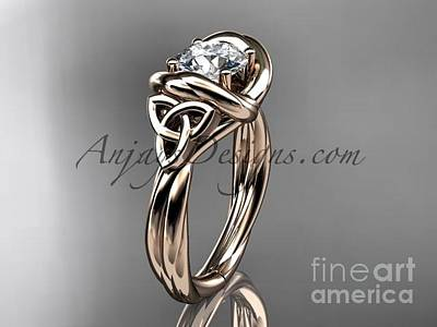 Jewelry - 14kt Rose Gold Trinity Celtic Twisted Rope Wedding Ring With A Moissanite Center Stone Rpct9146 by AnjaysDesigns com