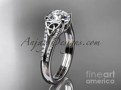 Leaf And Vine Engagement Ring Jewelry - 14kt White Gold Celtic Trinity Knot Engagement Ring With A Moissanite Center Stone Ct7108 by AnjaysDesigns com