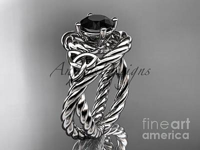 Jewelry - 14kt White Gold Celtic Trinity Twisted Rope Wedding Ring With A Black Diamond Center Stone Rpct9320 by AnjaysDesigns com