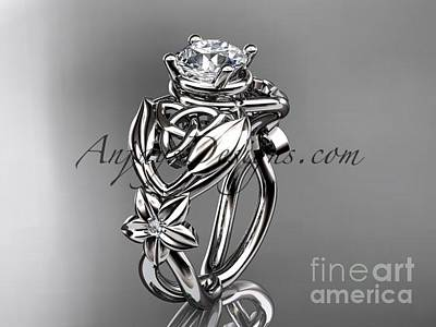 Leaf And Vine Engagement Ring Jewelry - 14kt White Gold Diamond Celtic Trinity Knot Wedding Ring  Moissanite Center Stone Ct7501g by AnjaysDesigns com