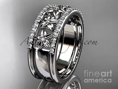 Jewelry - 14kt White Gold Engagement Ring, Flower Wedding Band Adlr516b by AnjaysDesigns com
