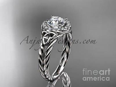 Jewelry - 14kt White Gold Halo Rope Celtic Triquetra Engagement Ring Rpct9131 by AnjaysDesigns com