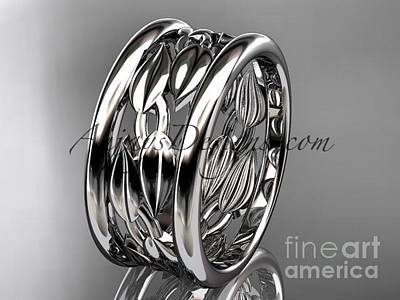 Leaf And Vine Engagement Ring Jewelry - 14kt White Gold Leaf And Vine Wedding Ring, Engagement Ring, Wedding Band Adlr293g by AnjaysDesigns com