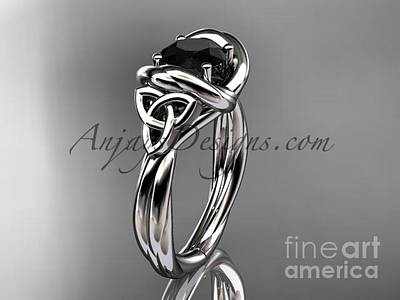 Jewelry - 14kt White Gold Trinity Celtic Twisted Rope Wedding Ring With A Black Diamond Center Stone Rpct9146 by AnjaysDesigns com