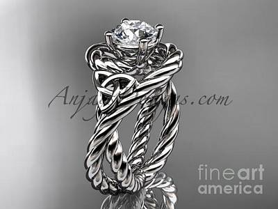 Jewelry - 14kt White Goldceltic Trinity Twisted Rope Wedding Ring With A Moissanite Center Stone Rpct9320 by AnjaysDesigns com