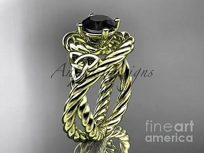Jewelry - 14kt Yellow Gold Celtic Trinity Twisted Rope Wedding Ring With A Black Diamond Center Stone Rpct9320 by AnjaysDesigns com