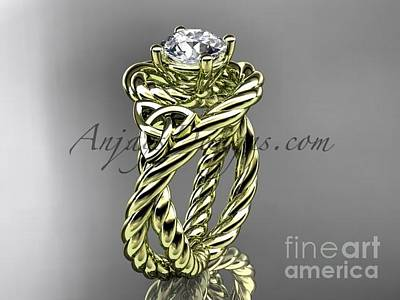 Jewelry - 14kt Yellow Gold Celtic Trinity Twisted Rope Wedding Ring With A Moissanite Center Stone Rpct9320 by AnjaysDesigns com