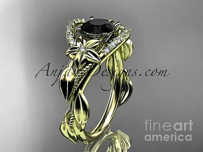 Leaf And Vine Engagement Ring Jewelry - 14kt Yellow Gold Diamond Engagement Ring, Wedding Ring With A Black Diamond Center Stone Adlr326 by AnjaysDesigns com
