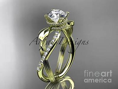 Solitaire Ring Jewelry - 14kt Yellow Gold Diamond Leaf And Vine Wedding Ring, Engagement Ring Adlr70 by AnjaysDesigns com
