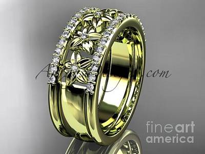 Jewelry - 14kt Yellow Gold Engagement Ring, Flower Wedding Band Adlr516b by AnjaysDesigns com