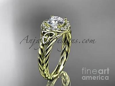 Jewelry - 14kt Yellow Gold Halo Rope Celtic Triquetra Engagement Ring Rpct9131 by AnjaysDesigns com