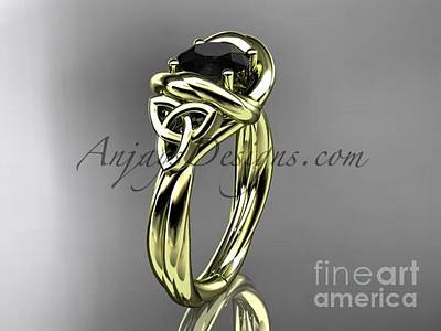 Jewelry - 14kt Yellow Gold Trinity Celtic Twisted Rope Wedding Ring With A Black Diamond Center Stone Rpct9146 by AnjaysDesigns com