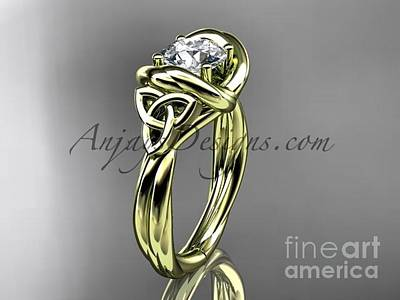 Jewelry - 14kt Yellow Gold Trinity Celtic Twisted Rope Wedding Ring With A Moissanite Center Stone Rpct9146 by AnjaysDesigns com