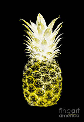 Photograph - 14n Artistic Glowing Pineapple Digital Art Lemon Yellow by Ricardos Creations