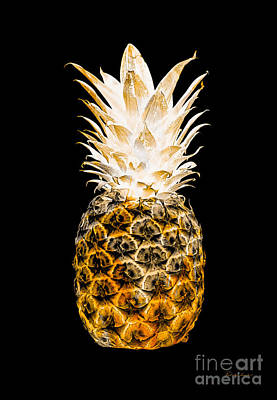 Photograph - 14o Artistic Glowing Pineapple Digital Art Orange by Ricardos Creations